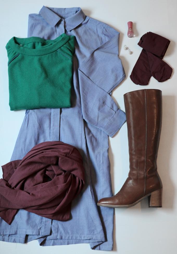 Outfit mit grünem Pullover - Schneidersitz