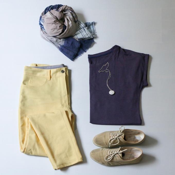 Outfit mit Ginger Jeans in Gelb - Schneidersitz